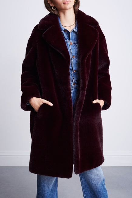 Camille Cocoon Coat by Stand Studio in Dark Burgundy 1