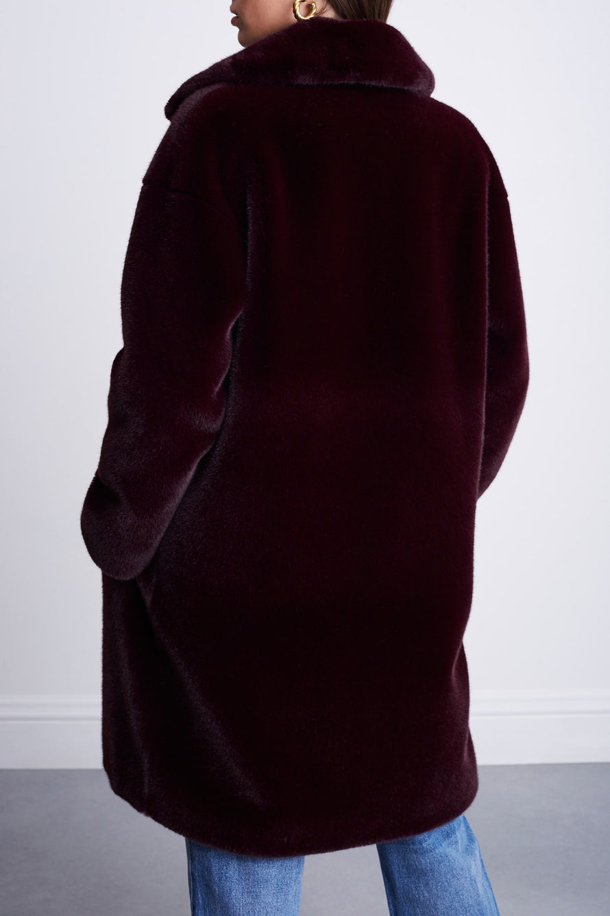 Camille Cocoon Coat by Stand Studio in Dark Burgundy 2
