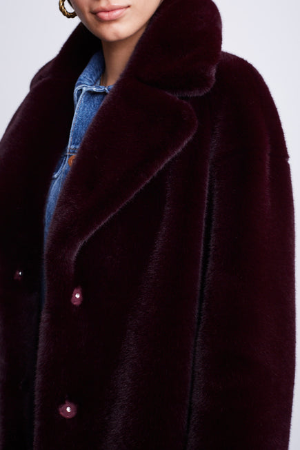 Camille Cocoon Coat by Stand Studio in Dark Burgundy 6