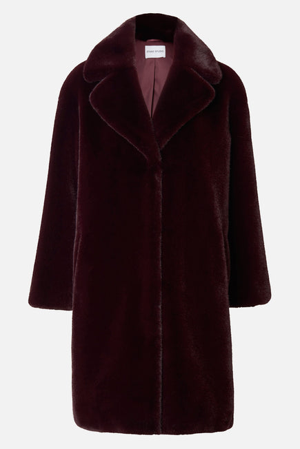 Camille Cocoon Coat by Stand Studio in Dark Burgundy 9