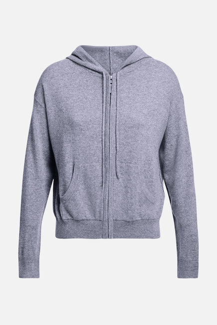 Emmaline Cashmere Zip Front Hoodie by Nili Lotan in Heather Grey 6