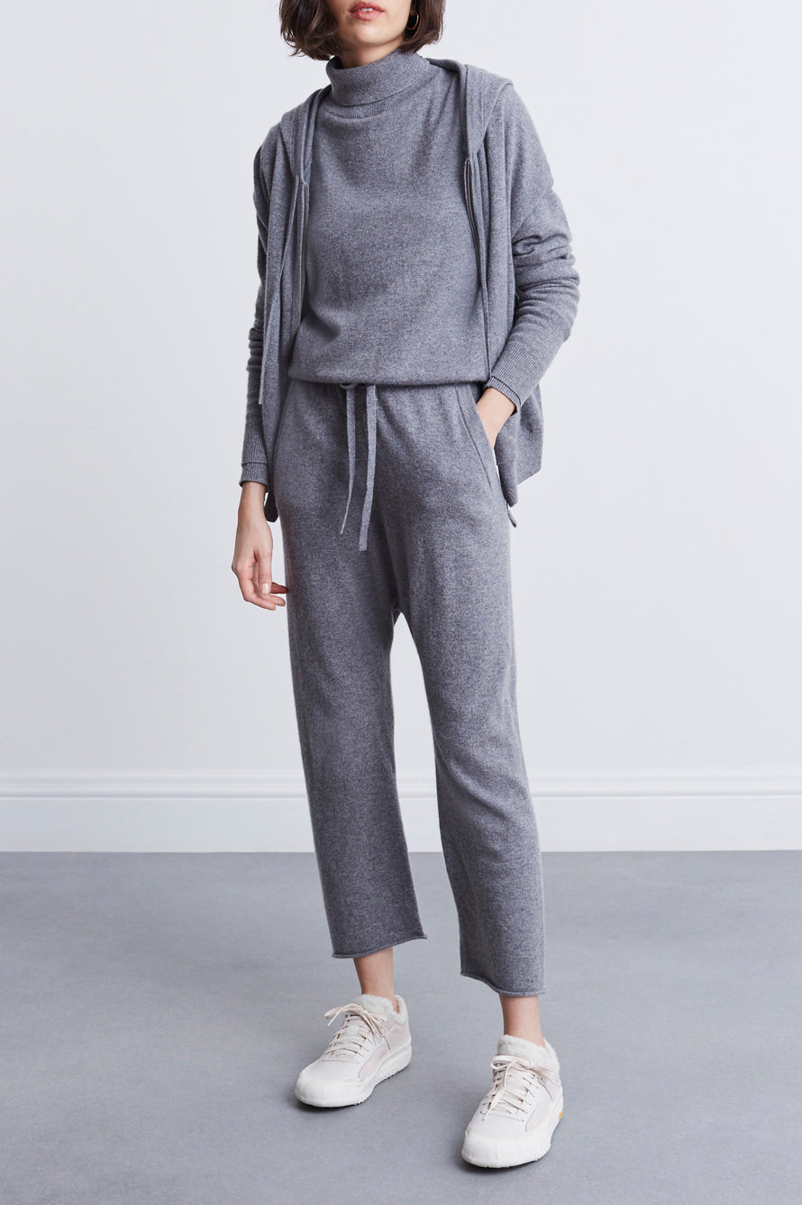 Emmaline Cashmere Zip Front Hoodie by Nili Lotan in Heather Grey 2