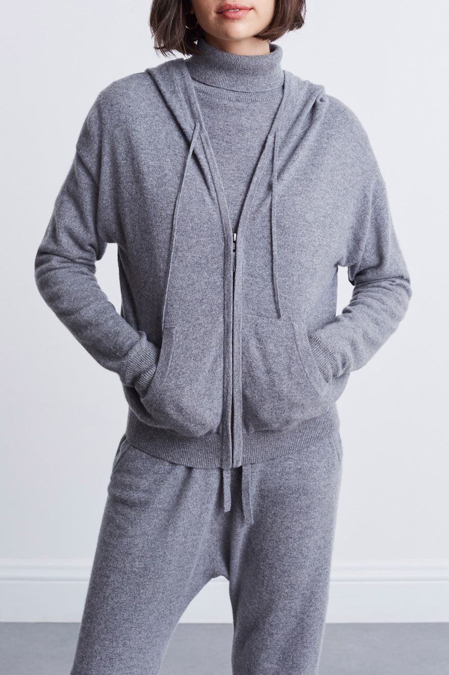 Emmaline Cashmere Zip Front Hoodie by Nili Lotan in Heather Grey 1