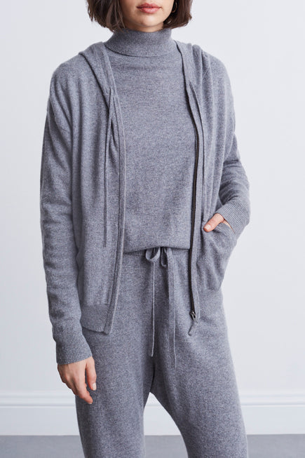 Emmaline Cashmere Zip Front Hoodie by Nili Lotan in Heather Grey 5
