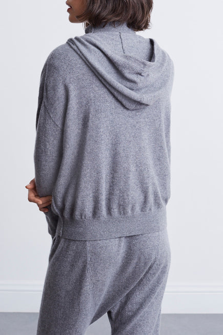 Emmaline Cashmere Zip Front Hoodie by Nili Lotan in Heather Grey 4