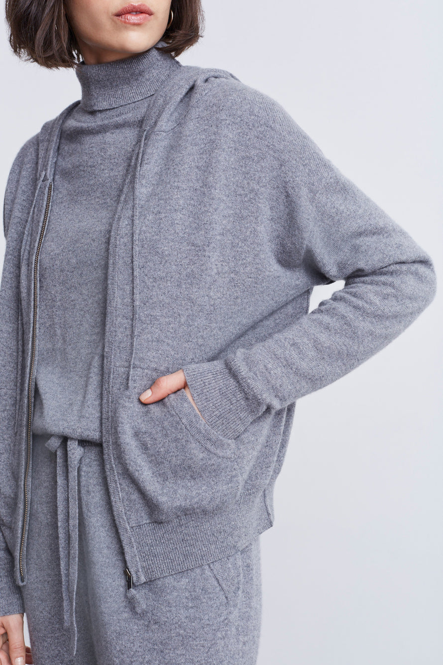 Emmaline Cashmere Zip Front Hoodie by Nili Lotan in Heather Grey 3