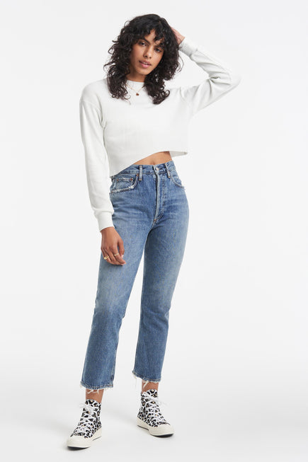 Riley High Rise Straight Crop Jeans by AGOLDE in Frequency 2