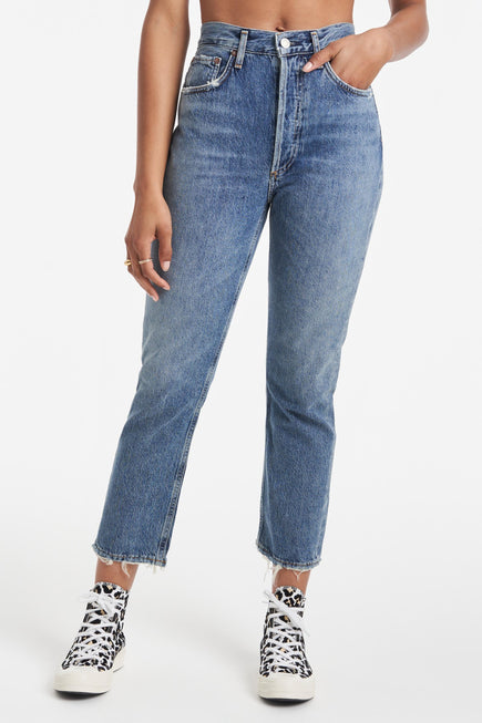 Riley High Rise Straight Crop Jeans by AGOLDE in Frequency 5