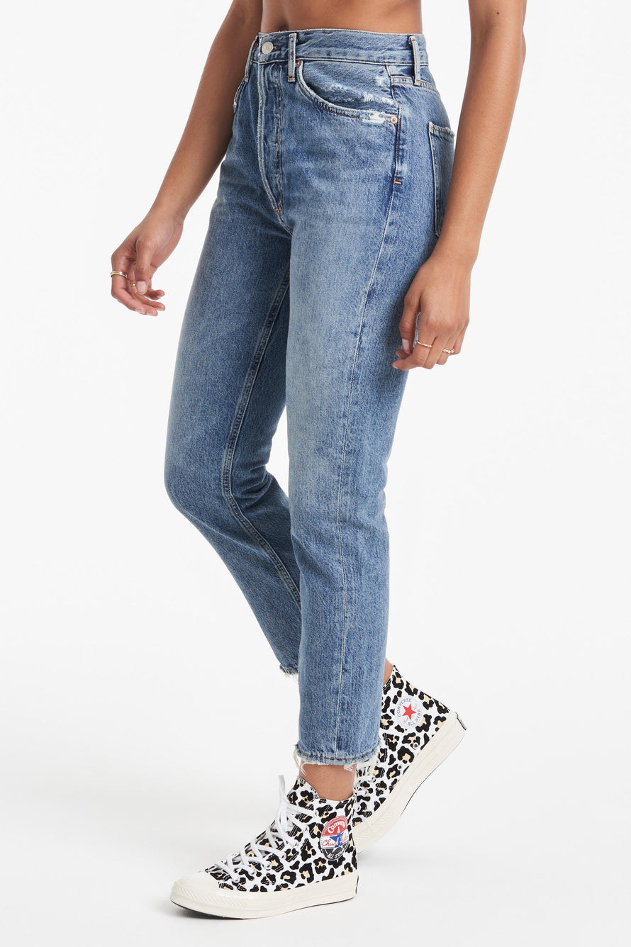 Riley High Rise Straight Crop Jeans by AGOLDE in Frequency 1
