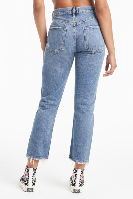 Riley High Rise Straight Crop Jeans by AGOLDE in Frequency 4