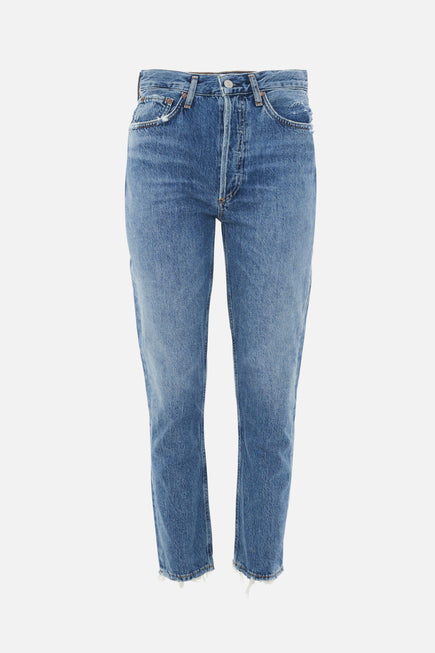 Riley High Rise Straight Crop Jeans by AGOLDE in Frequency 6