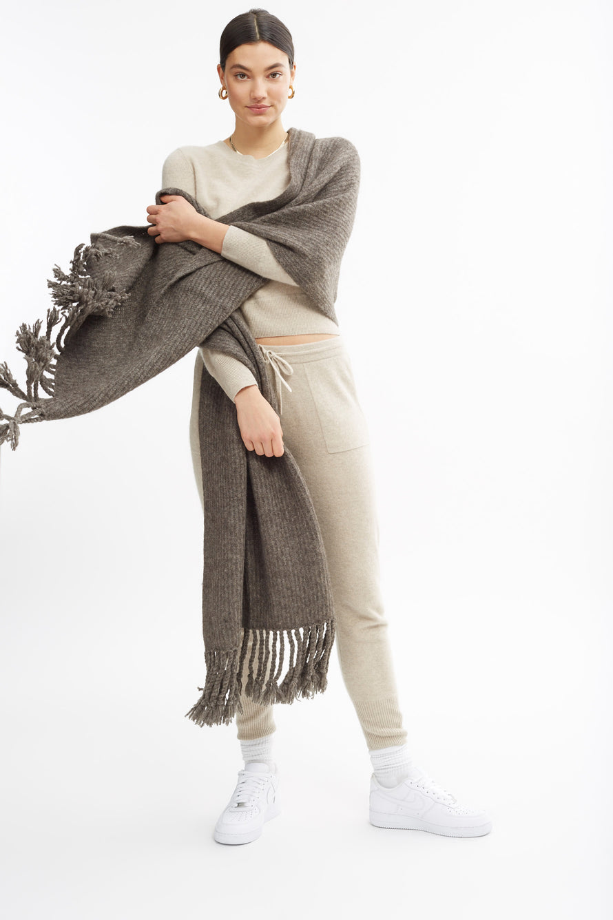 Fringe Scarf by Naadam in Stone Grey 2
