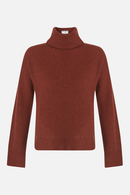 Turtleneck Sweater by BANDIER x Brodie Cashmere in Nutmeg 7