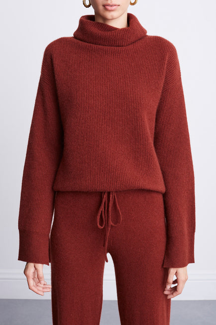 Turtleneck Sweater by BANDIER x Brodie Cashmere in Nutmeg 2