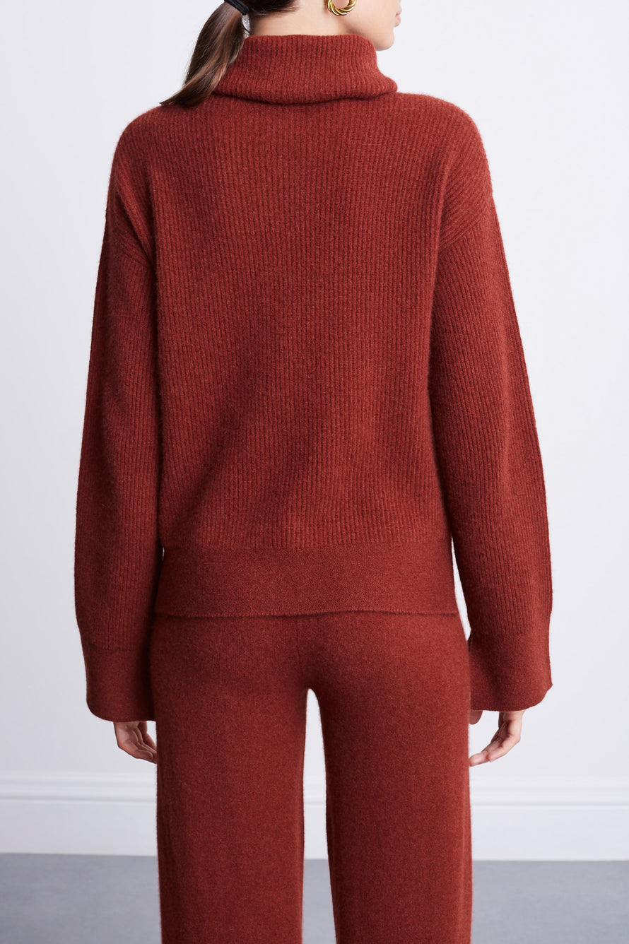 Turtleneck Sweater by BANDIER x Brodie Cashmere in Nutmeg 5