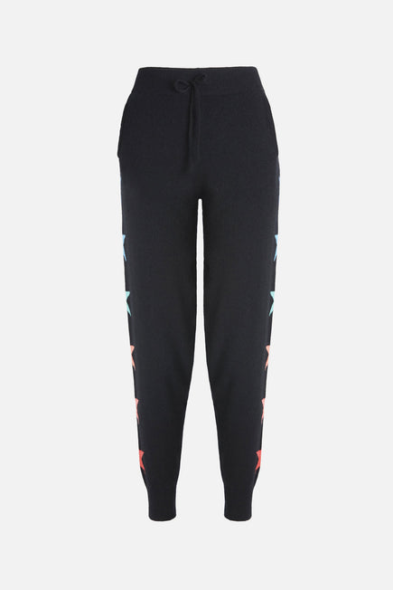 Side Star Jogger by BANDIER x Brodie Cashmere in Black W/multi Stars 6