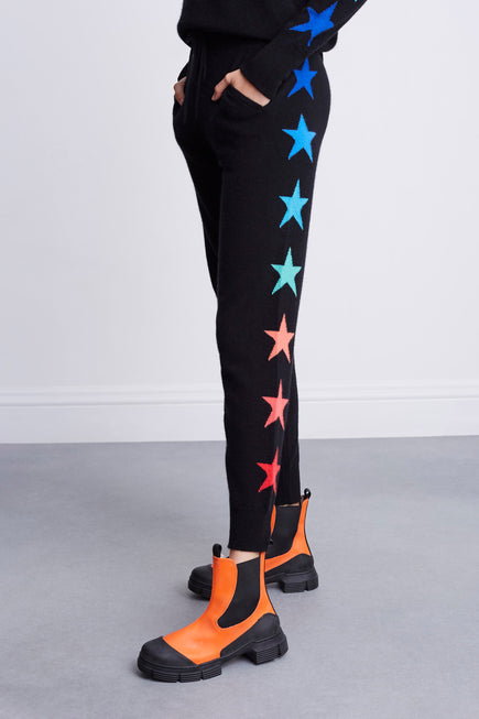 Side Star Jogger by BANDIER x Brodie Cashmere in Black W/multi Stars 4