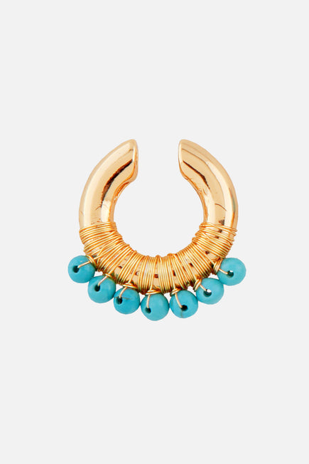 Beaded Ear Cuff by Joolz by Martha Calvo in Turquoise 1