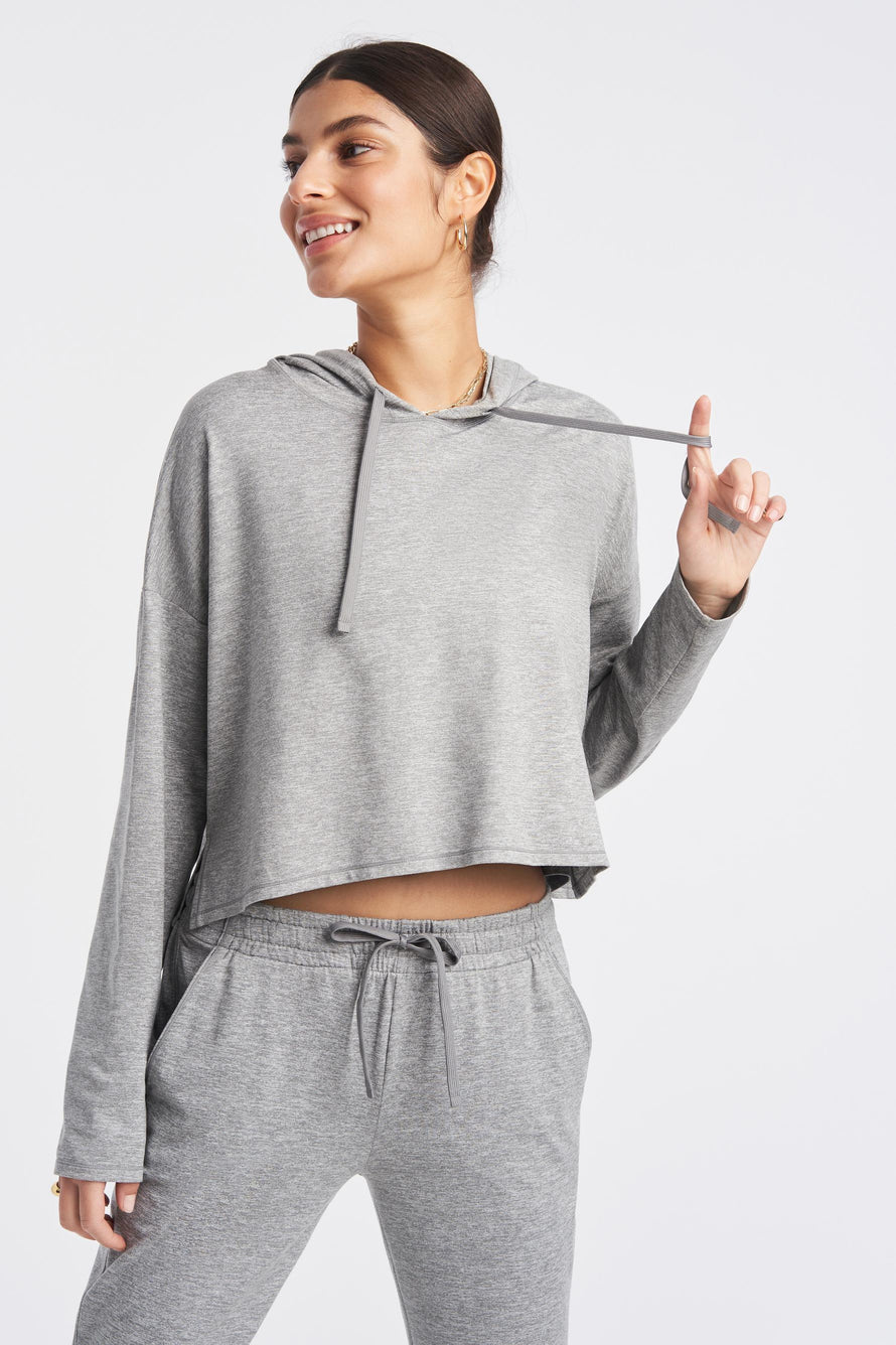 Zen Hoodie by We Over Me in Light Grey Spacedye 1