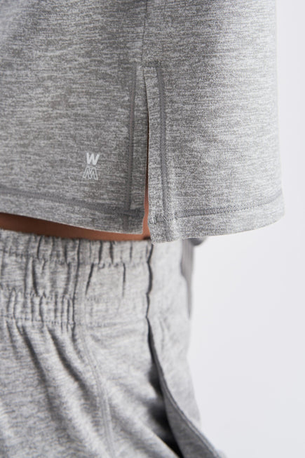 Zen Hoodie by We Over Me in Light Grey Spacedye 3