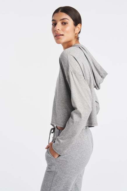 Zen Hoodie by We Over Me in Light Grey Spacedye 5
