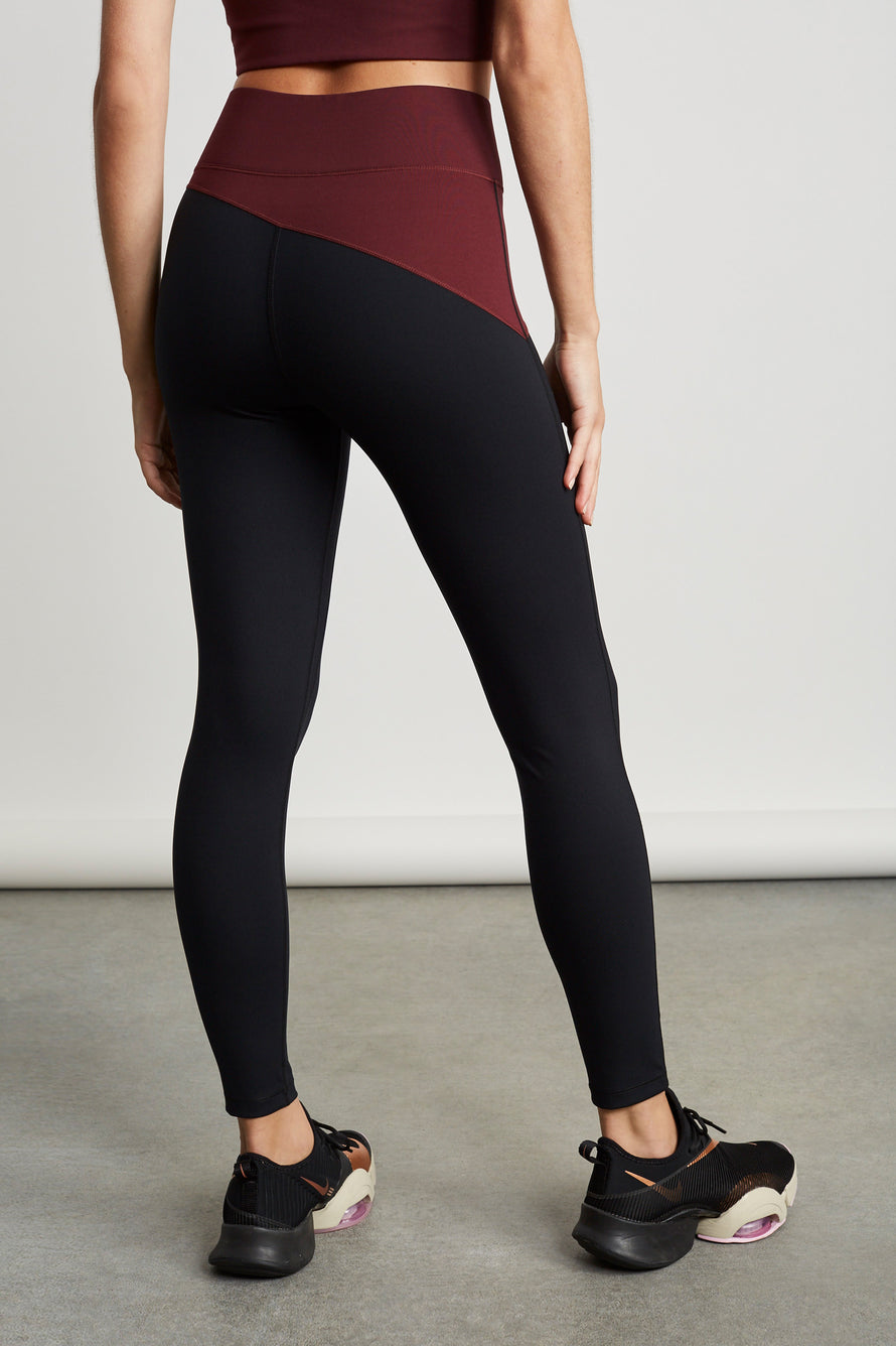 Top Blocked Legging by A.L.C. x BANDIER in Plum/black 4