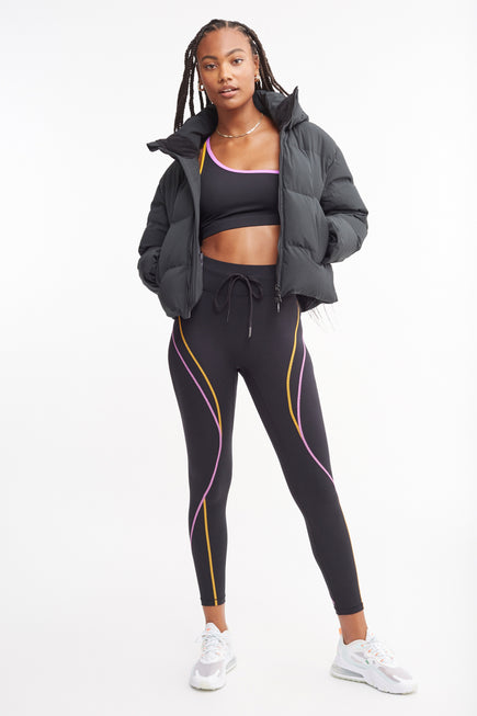 High Rise Legging W/Drawstring by All Access in Black W/multi Flatlock 2
