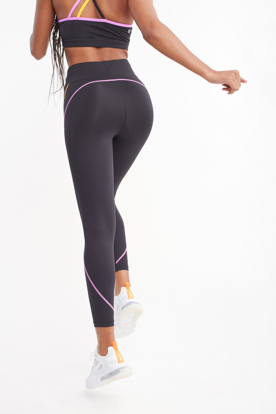 High Rise Legging W/Drawstring by All Access in Black W/multi Flatlock 3