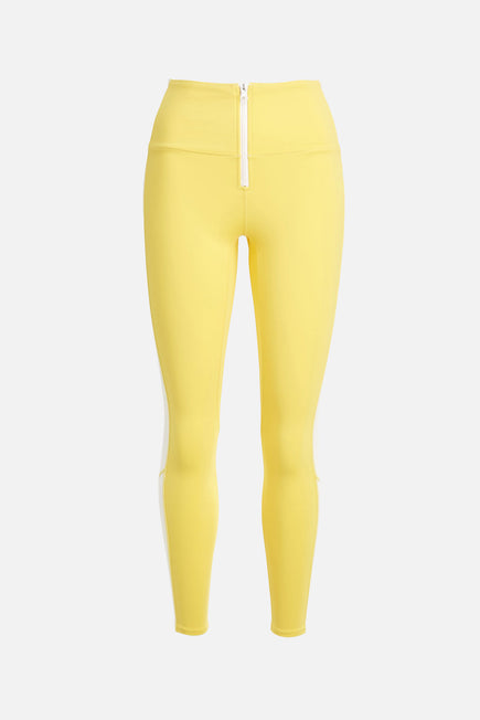 Soleil Zip Front Legging by BANDIER X SOLID & STRIPED in Bright Yellow/white 6