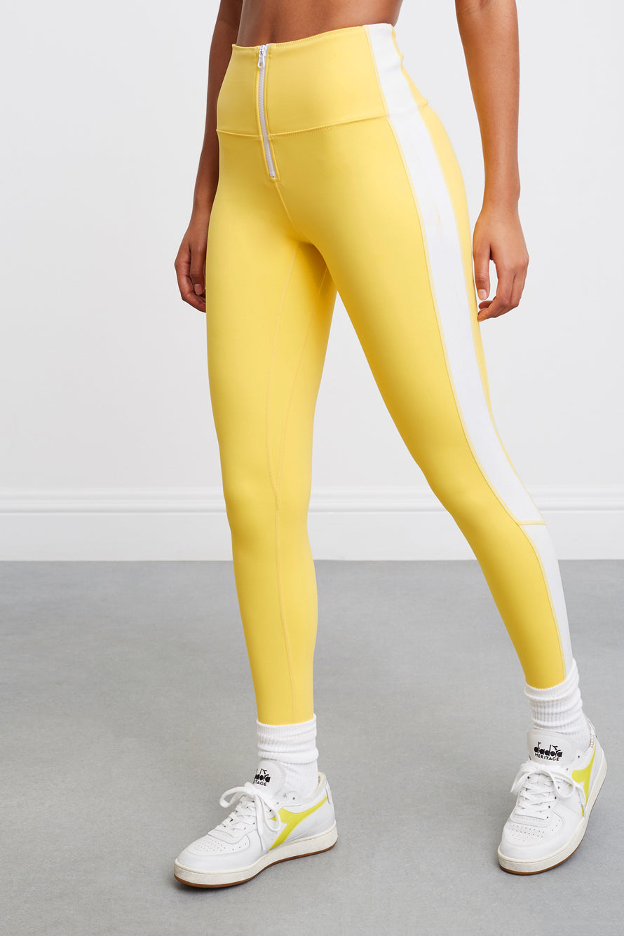 Soleil Zip Front Legging by BANDIER X SOLID & STRIPED in Bright Yellow/white 1