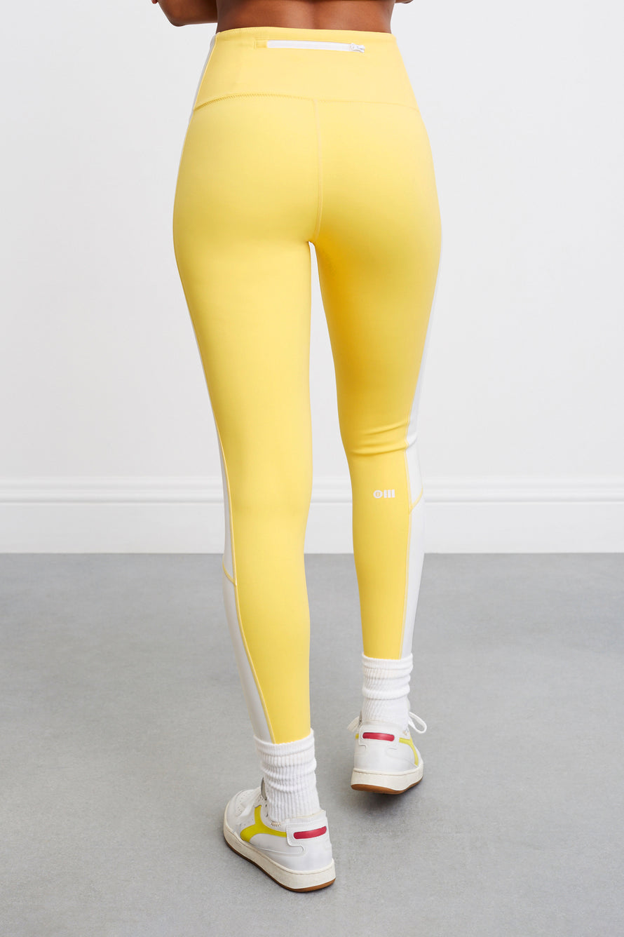 Soleil Zip Front Legging by BANDIER X SOLID & STRIPED in Bright Yellow/white 4