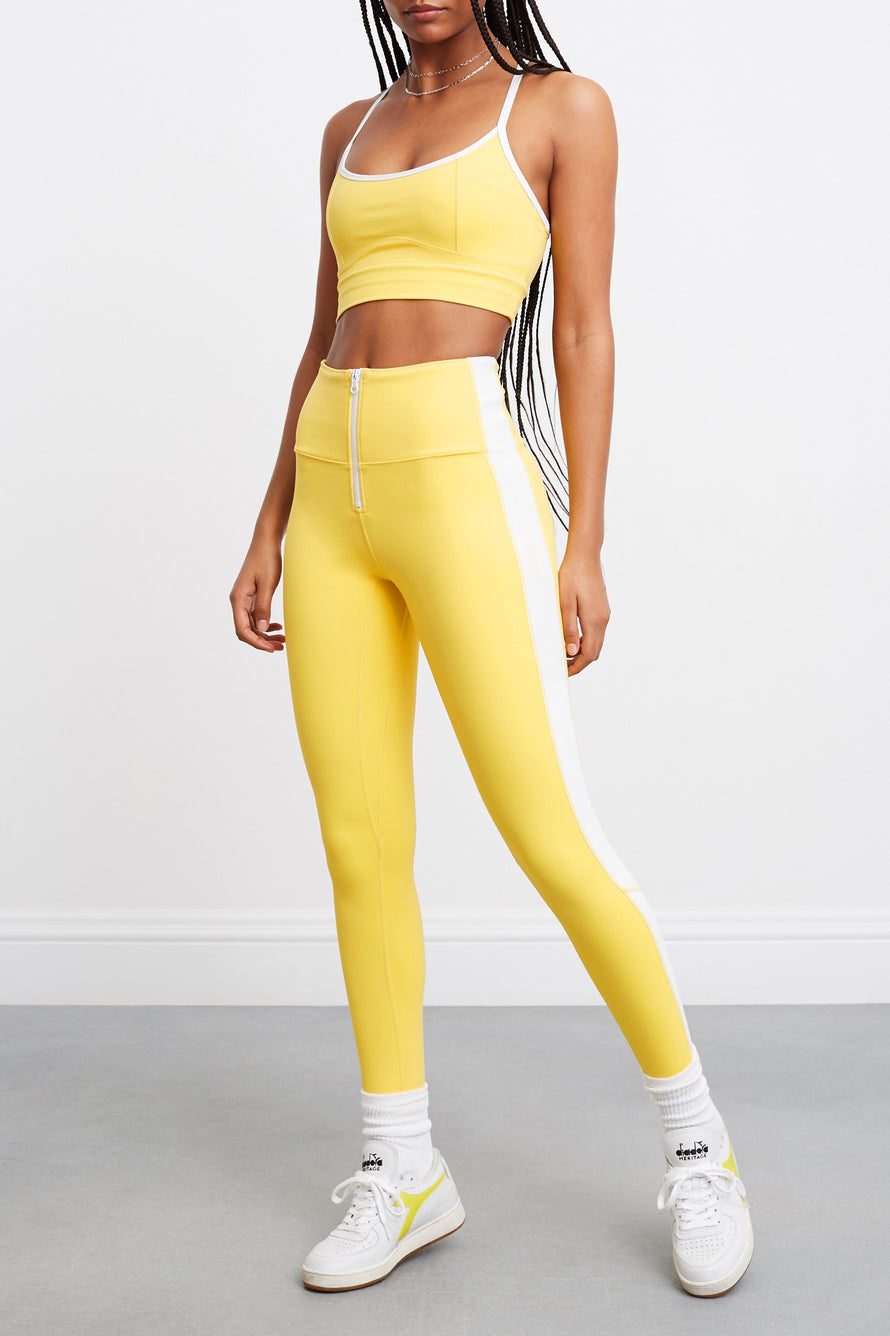 Soleil Zip Front Legging by BANDIER X SOLID & STRIPED in Bright Yellow/white 2