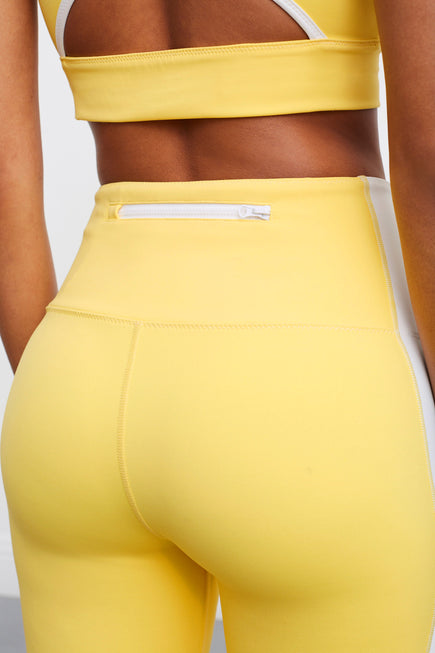 Soleil Zip Front Legging by BANDIER X SOLID & STRIPED in Bright Yellow/white 3