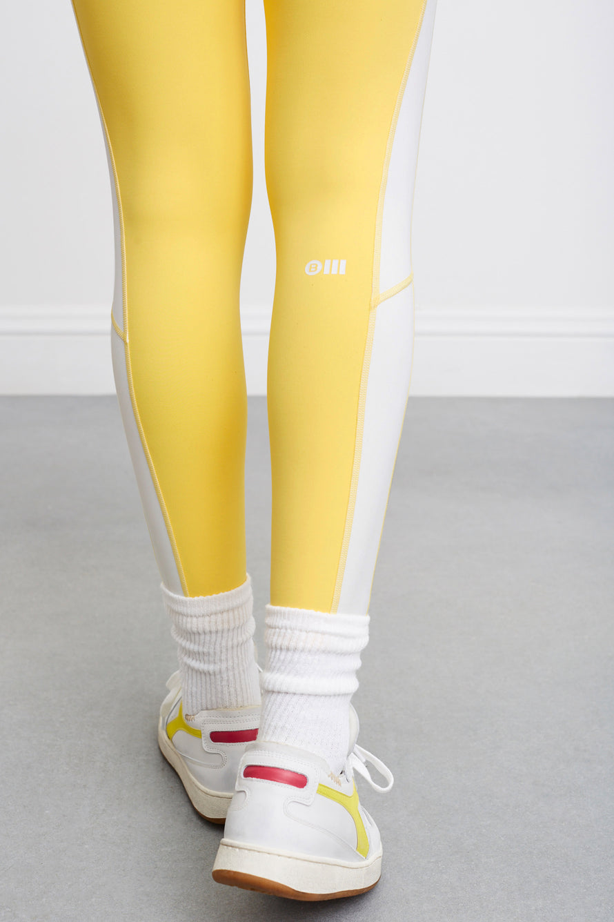 Soleil Zip Front Legging by BANDIER X SOLID & STRIPED in Bright Yellow/white 5