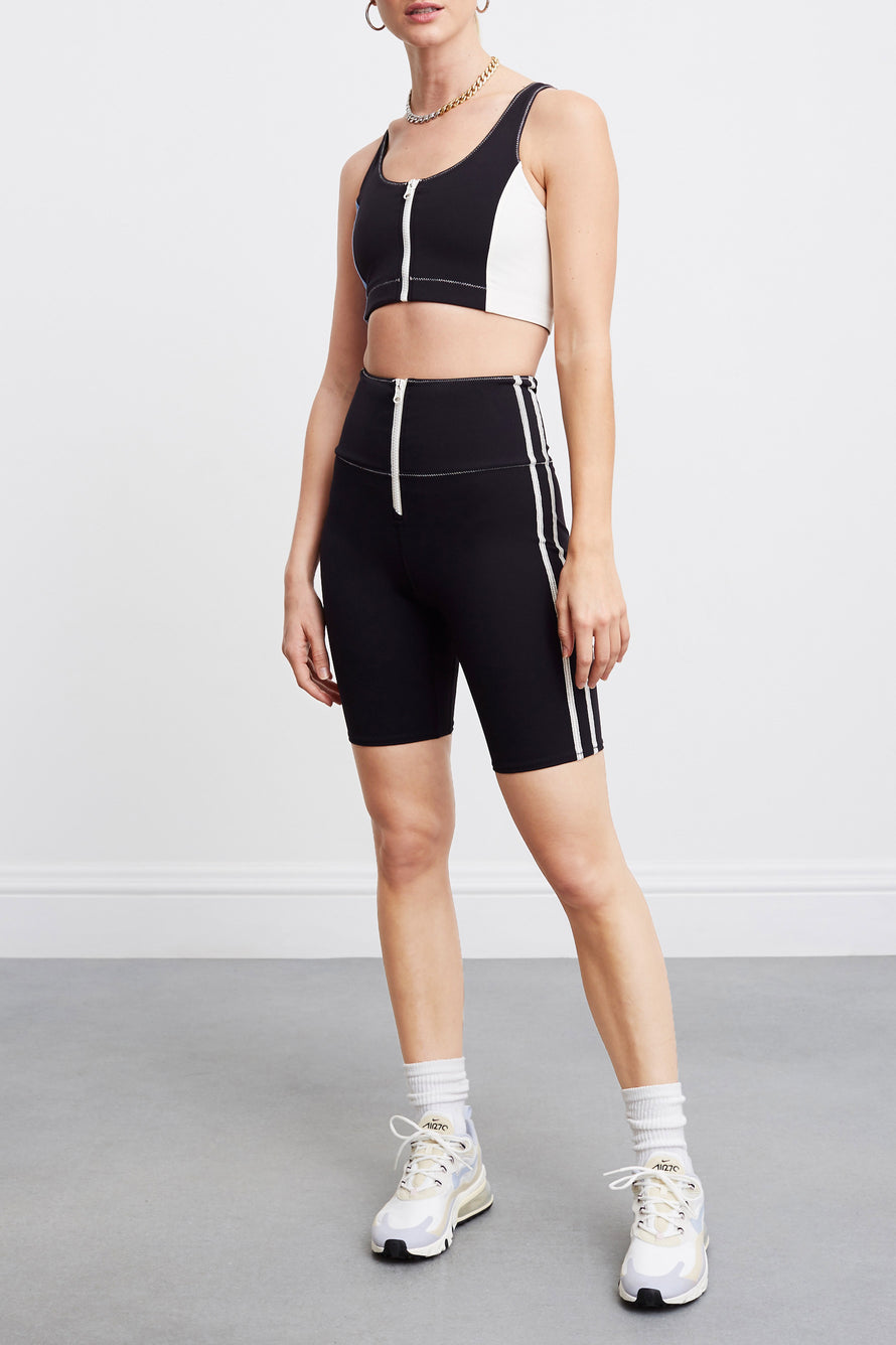 High Tide Zip Front Biker Short by BANDIER X SOLID & STRIPED in Black W White 3