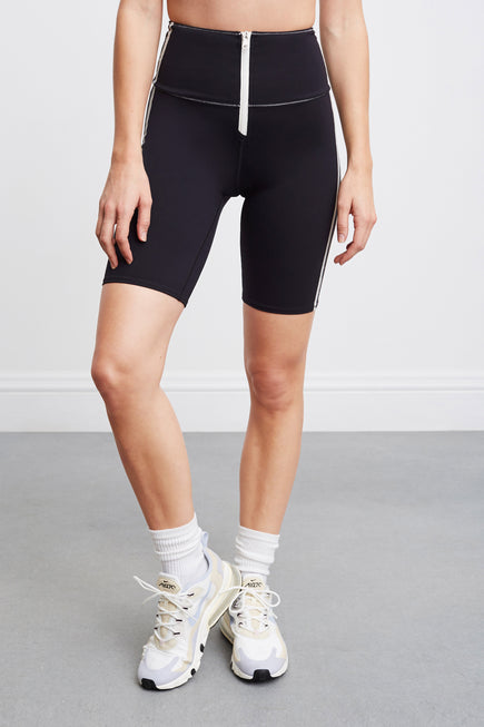 High Tide Zip Front Biker Short by BANDIER X SOLID & STRIPED in Black W White 2