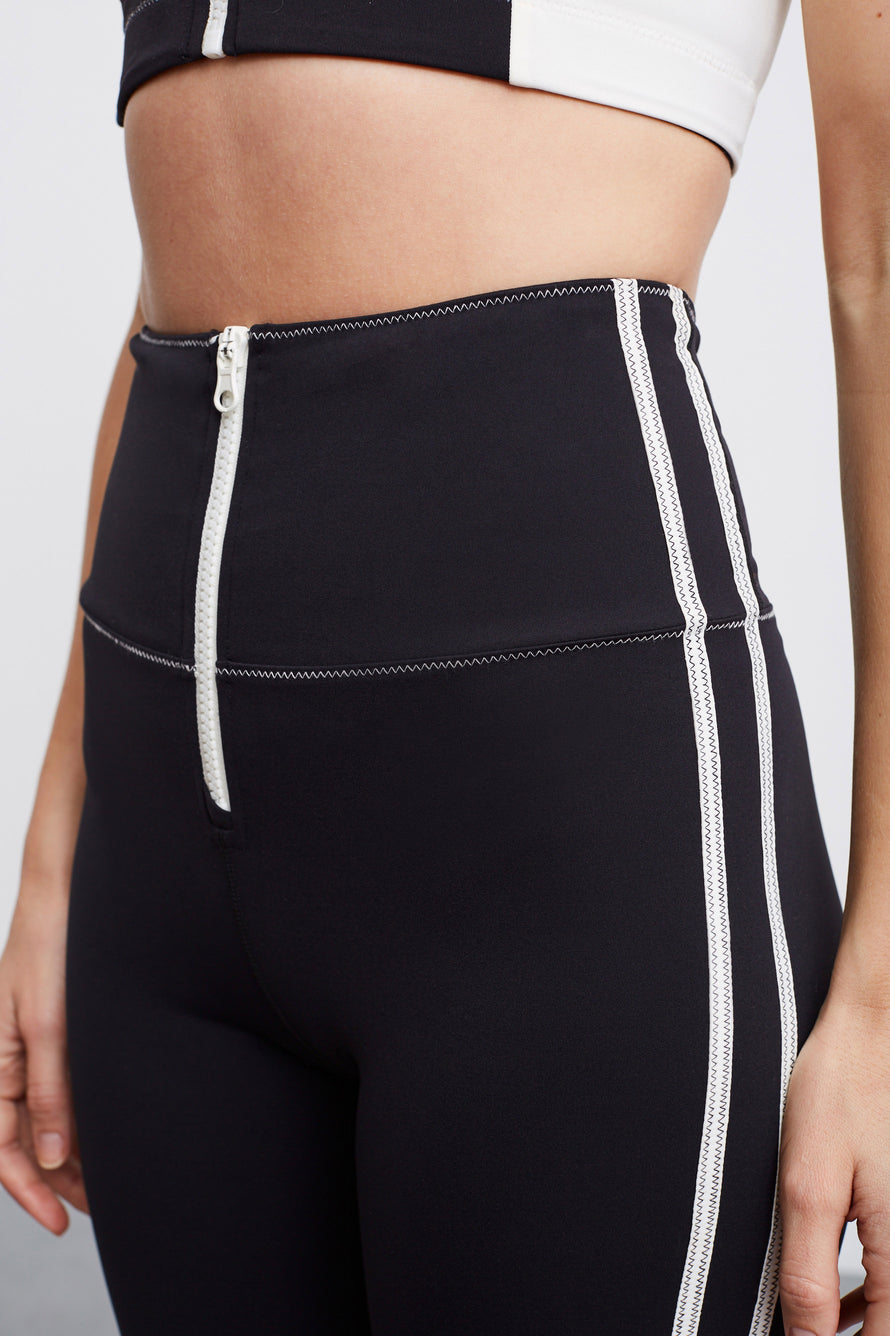 High Tide Zip Front Biker Short by BANDIER X SOLID & STRIPED in Black W White 4