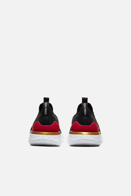 Epic React Phantom Flyknit by Nike in Black/Black/University Red/Metallic Gold 4