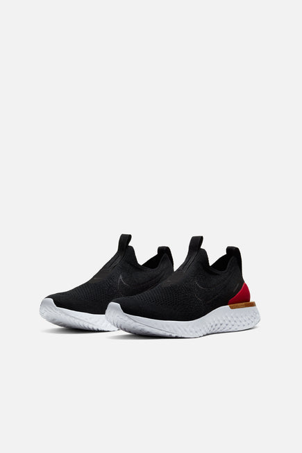 Epic React Phantom Flyknit by Nike in Black/Black/University Red/Metallic Gold 3