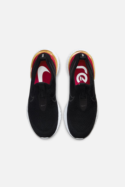 Epic React Phantom Flyknit by Nike in Black/Black/University Red/Metallic Gold 5
