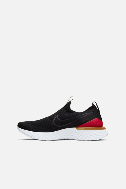 Epic React Phantom Flyknit by Nike in Black/Black/University Red/Metallic Gold 2