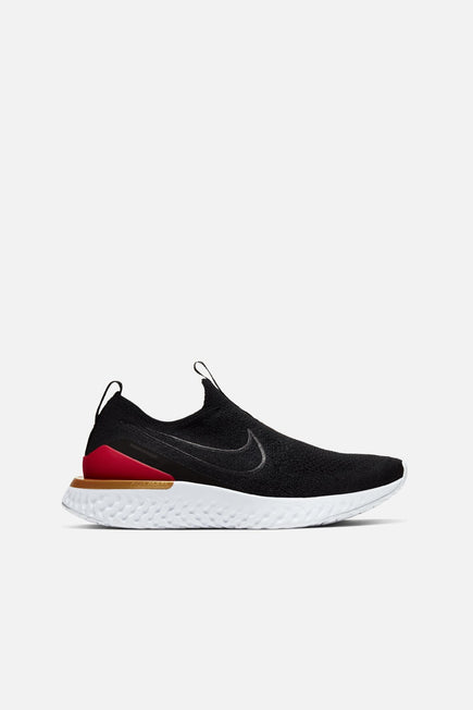 Epic React Phantom Flyknit by Nike in Black/Black/University Red/Metallic Gold 1