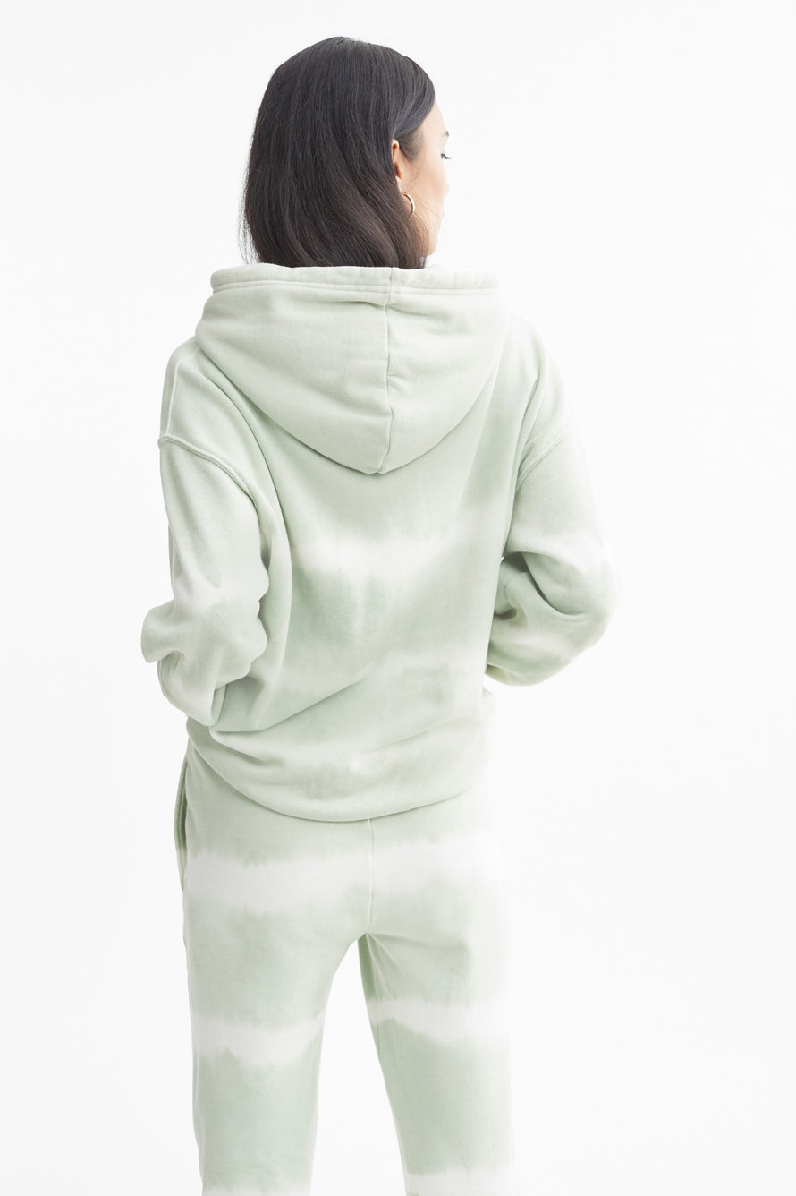 The Ecosoft Oversized Hoodie by WSLY in Sage Tie Dye 3