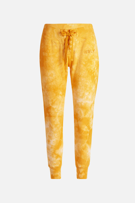 The Ecosoft Tie Up Jogger by WSLY in Saffron Tie Dye 9