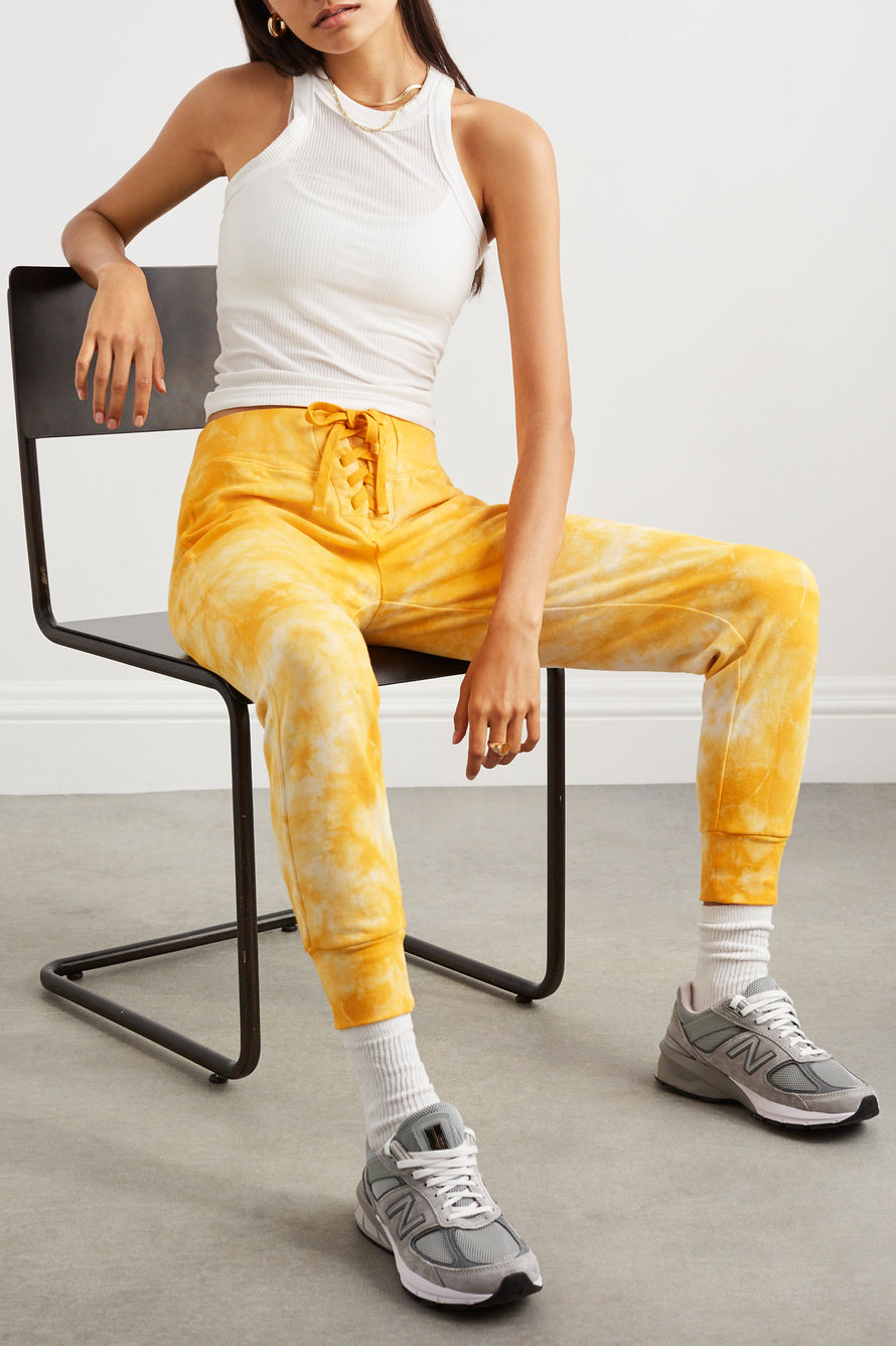 The Ecosoft Tie Up Jogger by WSLY in Saffron Tie Dye 3