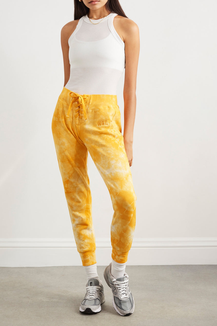The Ecosoft Tie Up Jogger by WSLY in Saffron Tie Dye 8