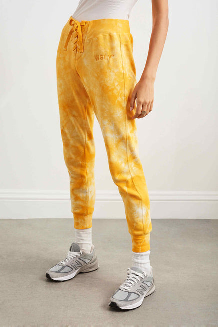 The Ecosoft Tie Up Jogger by WSLY in Saffron Tie Dye 5