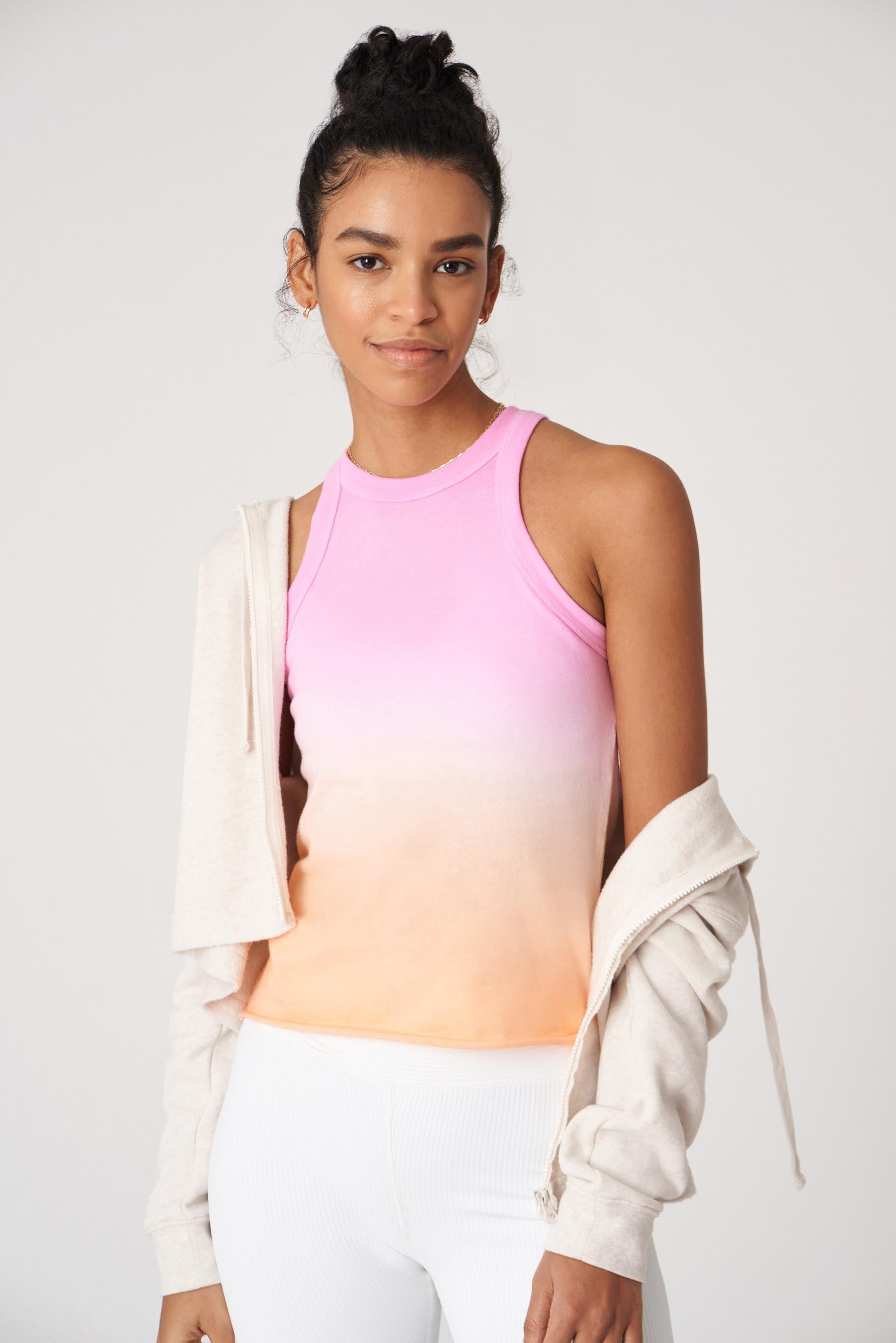 Wsly The Rivington Weekend Tank In Helio/cantaloupe Ombre