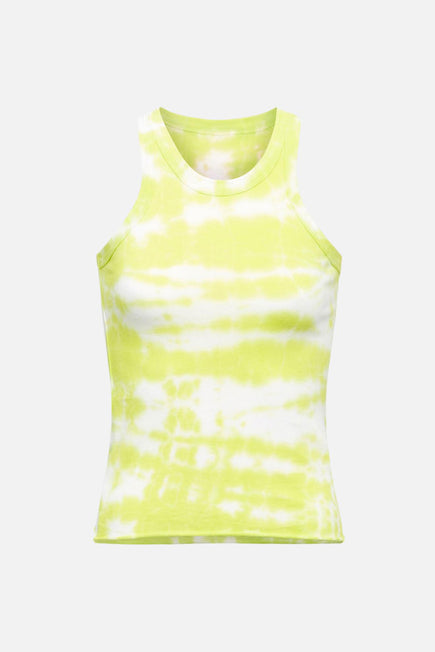 The Rivington Weekend Tank by WSLY in Highlighter Yellow Tie Dye 4