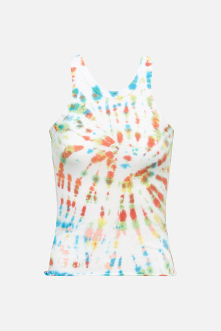 The Rivington Weekend Tank by WSLY in Optic White Tie Dye 3